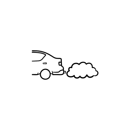 Car emitting exhaust fumes hand drawn outline doodle icon. Ecology and environment pollution ,traffic concept. Vector sketch illustration for print, web, mobile and infographics on white background. 矢量图像