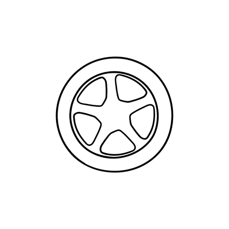 Car wheel hand drawn outline doodle icon. Car tire and transport, speed and drive, car service concept. Vector sketch illustration for print, web, mobile and infographics on white background. Illustration