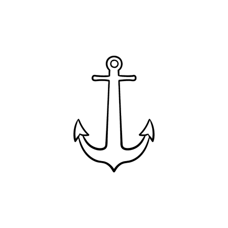 Anchor hand drawn outline doodle icon. Nautical anchor, boat and ship equipment, secure sail concept. Vector sketch illustration for print, web, mobile and infographics on white background.