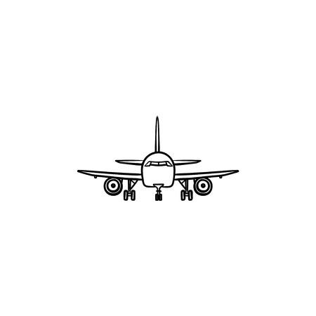 Front view of airplane hand drawn outline doodle icon. Aviation and tourism, flying aircraft, airliner concept. Vector sketch illustration for print, web, mobile and infographics on white background.