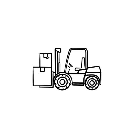 Warehouse forklift truck with cardboard boxes hand drawn outline doodle icon. Loader, warehouse vehicle concept. Vector sketch illustration for print, web, mobile and infographics on white background. Ilustração