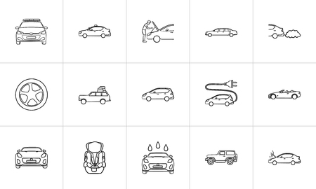 Car hand drawn outline doodle icon set. Outline doodle icon set for print, web, mobile and infographics. Electric and police car, repair vector sketch illustration set isolated on white background. Stock Illustratie
