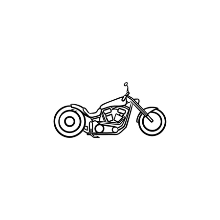 Motorcycle hand drawn outline doodle icon. Motorbike and speed, race vehicle and transport concept. Vector sketch illustration for print, web, mobile and infographics on white background. Illustration
