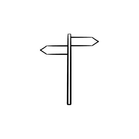 Direction sign hand drawn outline doodle icon. Signpost, guide and navigation, travel direction concept. Vector sketch illustration for print, web, mobile and infographics on white background. Vettoriali
