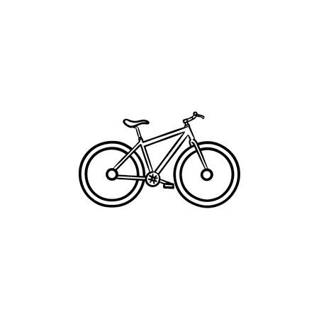 Bicycle hand drawn outline doodle icon. Bike race and exercise, travel and speed ride, transportation concept. Vector sketch illustration for print, web, mobile and infographics on white background.