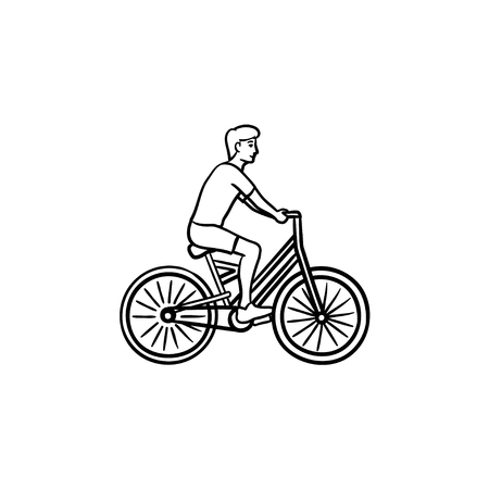 Man riding a bike hand drawn outline doodle icon. Cycle and fitness, recreation and travel activity concept. Vector sketch illustration for print, web, mobile and infographics on white background. Stock Illustratie