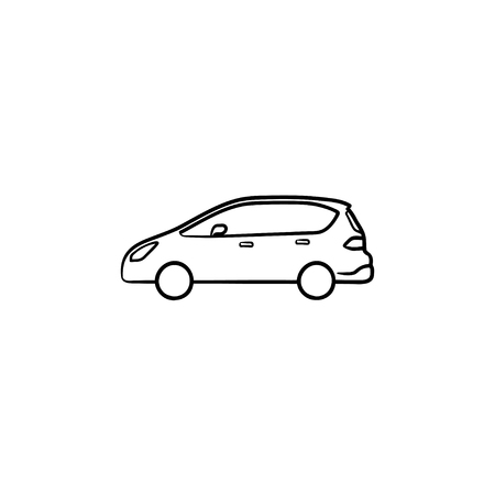 Car side view hand drawn outline doodle icon. Transportation and automobile, drive and travel concept. Vector sketch illustration for print, web, mobile and infographics on white background.
