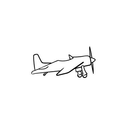 Small plane with propeller hand drawn outline doodle icon. Aircraft with propeller engine, fly airplane concept. Vector sketch illustration for print, web, mobile and infographics on white background. Ilustração