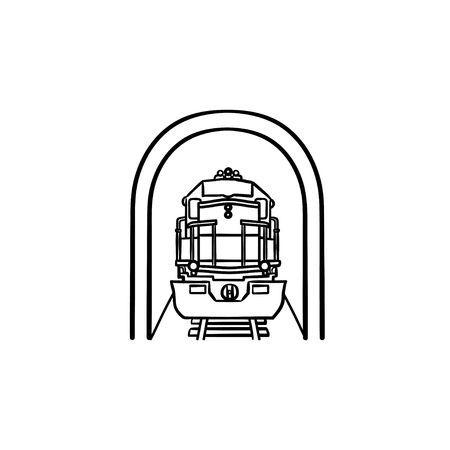 Railway tunnel with train hand drawn outline doodle icon. Subway public transport, metro station concept. Vector sketch illustration for print, web, mobile and infographics on white background.