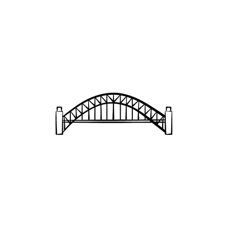 Bridge hand drawn outline doodle icon. Architecture construction, city bridge and transportation concept. Vector sketch illustration for print, web, mobile and infographics on white background.
