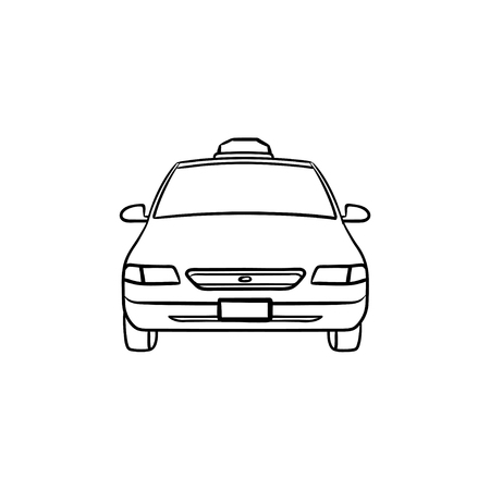 Taxi hand drawn outline doodle icon. Taxi transportation and cab, travel and city streets, tourism concept. Vector sketch illustration for print, web, mobile and infographics on white background.