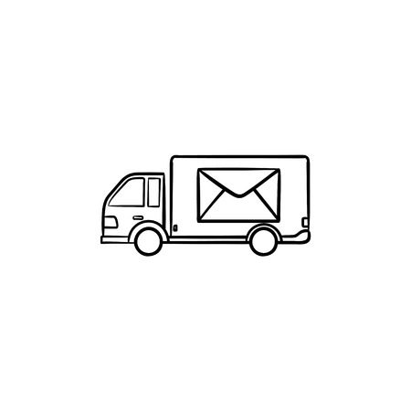 Mail van with envelope on it hand drawn outline doodle icon. Letters and parcels delivery, post truck concept. Vector sketch illustration for print, web, mobile and infographics on white background.