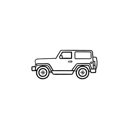 Jeep travel hand drawn outline doodle icon. Summer travel and vacation, adventure and crossover concept. Vector sketch illustration for print, web, mobile and infographics on white background.