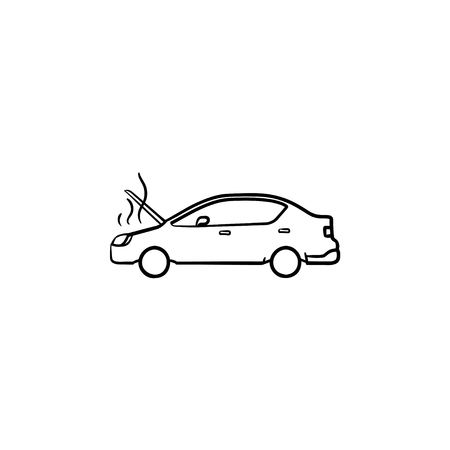 Broken car with open hood and steam hand drawn outline doodle icon. Heat trouble and engine, accident concept. Vector sketch illustration for print, web, mobile and infographics on white background. Vettoriali