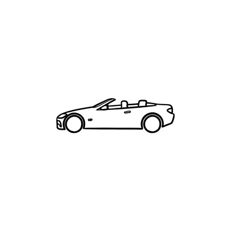 Convertible car hand drawn outline doodle icon. Automobile and speed transport, cabriolet, sport drive concept. Vector sketch illustration for print, web, mobile and infographics on white background.