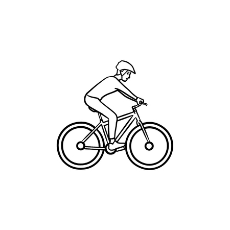 Biker riding mountain bike hand drawn outline doodle icon. Bicycle competitions, bike cycling concept. Vector sketch illustration for print, web, mobile and infographics on white background.