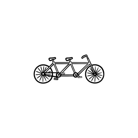 Double bicycle hand drawn outline doodle icon. Tandem bike, pleasure travel and ecological transport concept. Vector sketch illustration for print, web, mobile and infographics on white background.