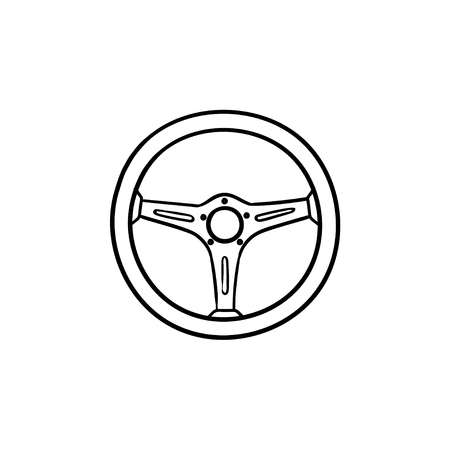Steering wheel hand drawn outline doodle icon. Drive car and auto, racing, driver and traffic concept. Vector sketch illustration for print, web, mobile and infographics on white background.