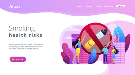 Business woman pointing at no smoking sign and people with cigarettes. Smoking cigarettes, nicotine addiction, smoking health risks concept. Website vibrant violet landing web page template.