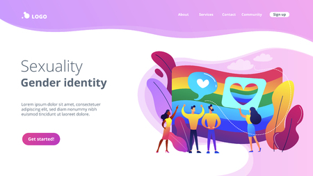 Rainbow coloured flag and LGBT community demonstration with hearts. Sexuality and gender identity, sexual orientation, LGBT movement concept. Website vibrant violet landing web page template.