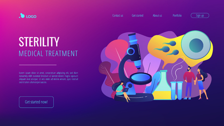 Scientist on microscope working on infertility treatment for couple. Infertility, female infertility causes, sterility medical treatment concept. Website vibrant violet landing web page template.