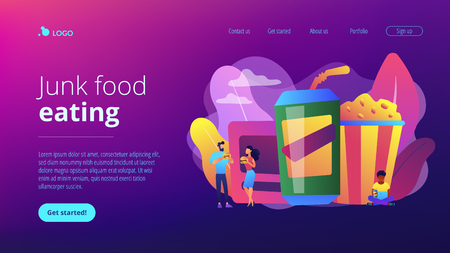 Business people eating hamburgers and drinking soft drinks near huge junk food. Snacking non-stop, junk food eating, reduce cholesterol use concept. Website vibrant violet landing web page template. Vector Illustratie