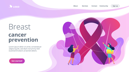 Doctor showing cancer awareness ribbon to the female patient. Breast cancer, women oncology factor, cancer prevention concept. Website vibrant violet landing web page template.