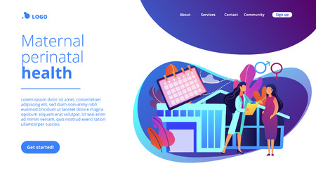 Doctor provides health services to pregnant woman and during labour. Maternity services, maternal perinatal health, pregnancy and birth care concept. Website vibrant violet landing web page template. Vektoros illusztráció