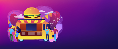 Business people at truck with burger eating fast food and drinking coffee. Street food festival, local food network, world cuisine festival concept. Header or footer banner template with copy space.