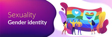 Rainbow coloured flag and LGBT community demonstration with hearts. Sexuality and gender identity, sexual orientation, LGBT movement concept. Header or footer banner template with copy space. Vettoriali