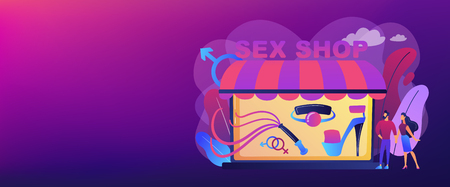 Couple shopping in adult shop with sexual entrtainment toys and accessories. Sex shop, online sex store, adult erotic products concept. Header or footer banner template with copy space.  イラスト・ベクター素材