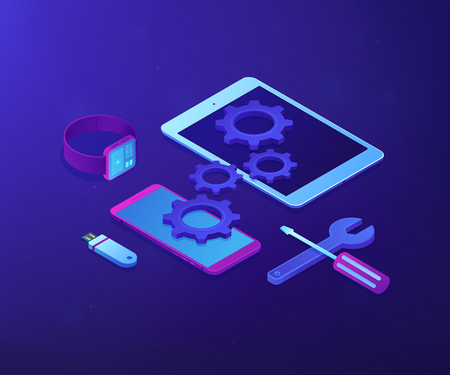 Tablet, smartphone and smartwatch with gears and tools need repair. Mobile device repair, tablet service and setup, smartwatch repair concept. Ultraviolet neon vector isometric 3D illustration.