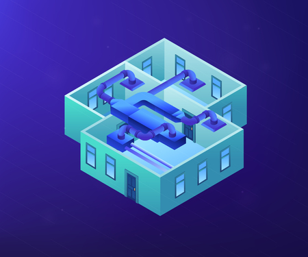 Indoor ventilation system pipes in the apartment. Ventilation system, energy recovery ventilation, airing system cleaning concept. Ultraviolet neon vector isometric 3D illustration. Illustration