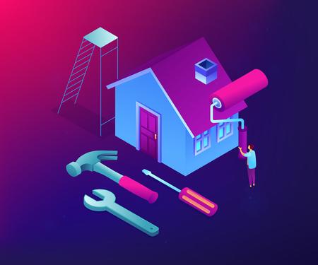 Businessman renovating house with paint roller and DIY home repair tools. DIY repair, do it yourself service, self-service learning concept. Ultraviolet neon vector isometric 3D illustration. Stock Illustratie