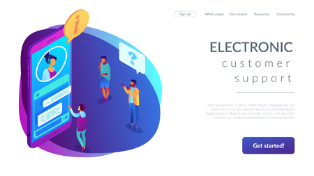 Customers asking for information electronic support in mobile phone. Customer self-service, e-support system, electronic customer support concept. Isometric 3D website app landing web page template