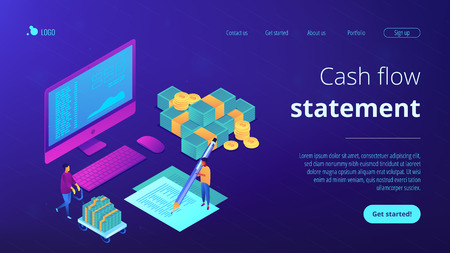 Financial analyst with computer and pen calculating cash flow statement. Cash flow statement, cash flow management, financial plan concept. Isometric 3D website app landing web page template Illustration