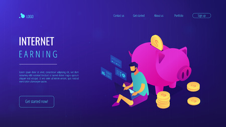 Freelancer with laptop working remotely online and piggy bank with golden coins. Online jobs, remote workplace jobs, internet earning concept. Isometric 3D website app landing web page template