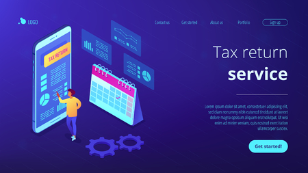 Businessman using tax return application on mobile phone. Tax return service, tax refund application, worldwide internet shopping concept. Isometric 3D website app landing web page template