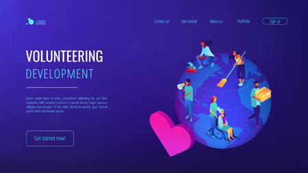 Volunteers at work on globe cleaning, helping the elderly, planting and donating. Volunteering, volunteer services, altruistic job activity concept. Isometric 3D website app landing web page template Illustration