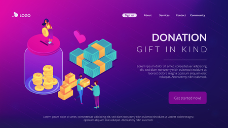 Volunteers donating money into the donation jar and carrying donation boxes with goods. Donation, charity donation funds, gift in kind concept. Isometric 3D website app landing web page template Çizim