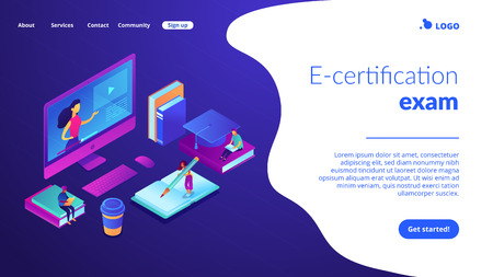 Students e-learning at huge computer with teacher online. E-learning industry, online digital education, e-certification exam concept. Isometric 3D website app landing web page template