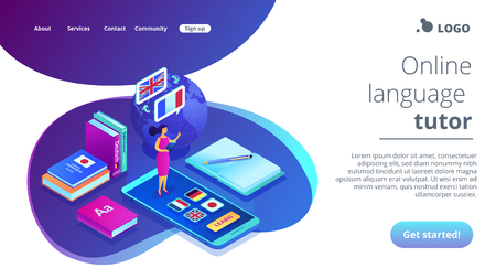 Tutor standing on smartphone and teaching foreign languages. Online language school, recorded digital class, online language tutor concept. Isometric 3D website app landing web page template Imagens - 116206240