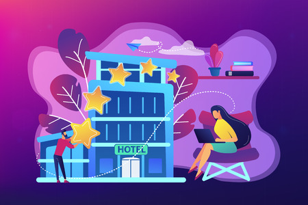 Business people with rating stars for design hotel architecture and interior. Design hotel, modern architecture, unique interior decoration concept. Bright vibrant violet vector isolated illustration 矢量图像