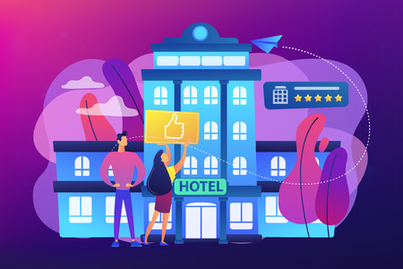 Business people with thumb up for modern trendy lifestyle hotel. Lifestyle hotel, modern hospitality trend, cutting-edge hotel concept. Bright vibrant violet vector isolated illustration Illustration