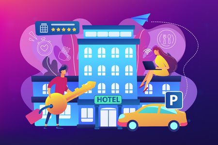 Business people at hotel use all included services, lodgings and wifi. All-inclusive hotel, luxury hospitality resort, all included service concept. Bright vibrant violet vector isolated illustration