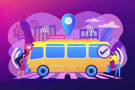 Passengers like and approve autonomos robotic driverless bus. Autonomous public transport, self-driving bus, urban transport services concept. Bright vibrant violet vector isolated illustration Illustration
