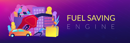 People losing money by using gas fuel cars. Fuel saving and gas mileage landing page. Fuel economy and efficient green eco friendly engine technology. Header or Footer banner template, copy space. Illustration