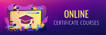 Students with laptops studying and huge laptop with graduation cap. Free online courses, online certificate courses, online business school concept. Header or footer banner template with copy space. Illustration