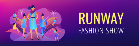 Designers display latest collection in runway fashion show to buyers and media. Fashion week, fashion industry event, runway fashion show concept. Header or footer banner template with copy space.