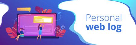A girl makes a post on big laptop. Bloger is shareing information in weblog, online journal or informational website. Bloging and personal web log concept. Violet palette. Header or Footer banner. Stock Illustratie